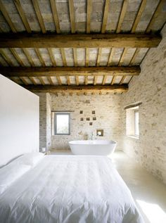 Best Ideas For Modern House Design & Architecture : – Picture : – Description Bedroom, Bathroom, Home Renovation In Treia, Italy by Wespi de Meuron Farmhouse Design, Rustic Farmhouse, Farmhouse Interior, Italian Farmhouse Decor, Rustic Design, Restored Farmhouse, Modern Design, French Farmhouse, Serene Bedroom