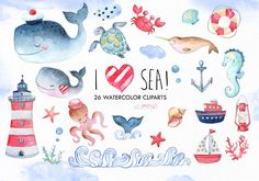Sea animals by EphrazyDesign on This clipart set include 26 hand painted watercolor cliparts. Ideal for invitations to the Nautical theme, greeting cards, baby shower Nautical Clipart, Nautical Theme, Vintage Nautical, Meer Illustration, Graphic Illustration, Cute Little Boys, Make Ready, Ocean Creatures, Clip Art