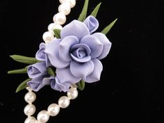 Blue Cold Porcelain Floral Pin $15.00