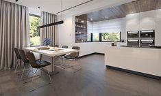 Projekt domu Kleo 185,06 m2 - koszt budowy - EXTRADOM 4 Bedroom House Designs, Modern Architecture House, Home Design Plans, Construction, House Plans, Kitchen Cabinets, Table, Furniture, Home Decor