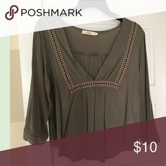 Peasant top 3/4 length sleeves. Olive green. Boho chic. Tops Blouses