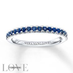 From the Vera Wang LOVE Collection, this 14K white gold wedding band is set with brilliant sapphires, the traditional gemstone of faithfulness and unending love. An amazing gift of love and commitment, this ring is finished with a bright polished shine.