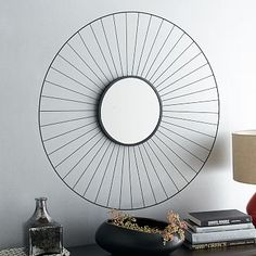 Wire Sunburst Mirror  128...three placd over seesaw up the wall