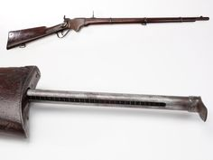 Spencer Rifle – This was one of the metallic cartridge repeaters that changed the face of the Civil War. Fitted with a 7-shot tubular magazine that was housed in the buttstock, the M1860 Spencer rifle fired a .56-56 (.52 ca) rimfire cartridge. Later in the war, the Union purchased Blakeslee cartridge boxes that could hold pre-loaded tubes filled with ammo. 7, 10 and 13 tube Blakeslee boxes were offered, but the combined weight of 91 Spencer rounds made the biggest size a little unwieldy.