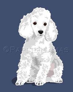 Poodle Dog Art   fawn  custom dog portrait chevron by PaperLlamas