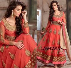 Pink and Orange Net Floor Length Anarkali