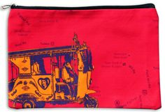 Orange Taxi Utility Pouch  Size: 11 x 7 Inches  Material: Canvas