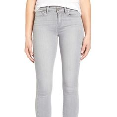 Paige Denim Verdugo Jeans Light grey, stretchy, very comfortable. Mid-rise normal crop. Paige Jeans Jeans Skinny