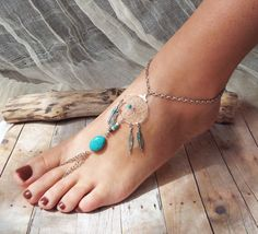 Peace Catcher Bohemian Silver Turquoise Dreamcatcher Slave Anklet  Hippie  Tribal   Native American Inspired