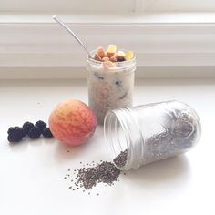 Grab and go! Chia seed pudding made with almond milk, cinnamon, vanilla and topped with peaches, blackberries and almonds! Made a bunch last night to last me through the week! A yummy way to start the day;)