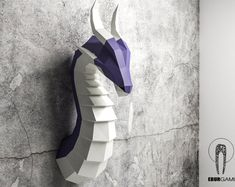 Paper Craft Dragon Head, Papercraft Trophy Dragon Mask DIY, 3D Origami Head, DIY Paper Sculpture,Low Poly DIY, Lowpoly Mask, Eburgami