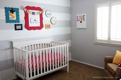 This modern and bright nursery adds pops of color that is appropriate for any nursery. We love the Shutterfly canvas with a fun printable.