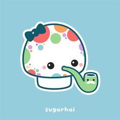 Animated gif featuring kawaii rainbow polka dotted mushroom with bubble pipe.