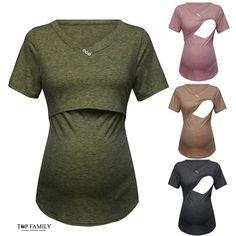 Kereda Womens Ladies Maternity Mom Nursing Tops Short Sleeve T-Shirt Layered Design Breastfeeding Clothes
