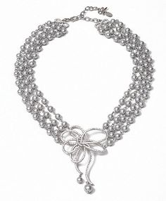 Pave Bow Four Strand Pearl Necklace | Brooks Brothers