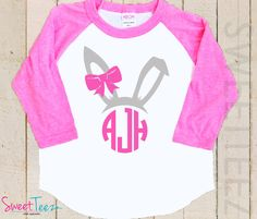 Easter Shirt Bunny Shirt Monogram Girl Pink Raglan 3/4th Sleeve Personalized Shirt Toddler Youth Shirt