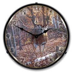 """Antique Style """" Great Eight-Whitetail Deer """" Backlit Clock   $129.99"""