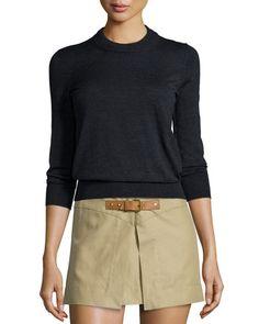 W08UK Isabel Marant Merino Wool Crewneck Sweater, Faded Black