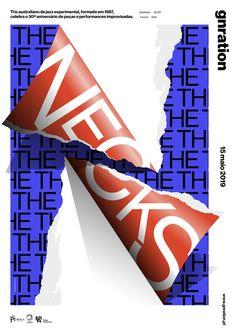 """the necks"" by studio dobra / portugal, 2019 / digital print, 297 x 420 mm Graphic Design Studios, Graphic Design Projects, Graphic Design Posters, Graphic Design Inspiration, Typography Design, 3d Poster, Poster Layout, Poster Prints, Book Cover Design"