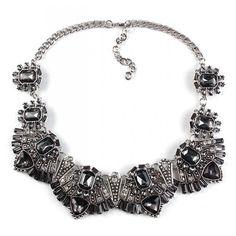 Rene Smokey Grey Art Deco Crystal Statement Bib Necklace