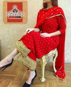 Flashy Red Dress Fabric details: Kurta - Georgette With Butta + Shantoon Inner (Free Size - SemiStitched ) Bottom- Shantoon With Broad Gotta Patch (Unstitched Dupatta- Chinon With Butta And Gotta Border Indian Bridal Outfits, Pakistani Bridal Dresses, Indian Designer Outfits, Indian Dresses, Designer Dresses, Designer Kurtis, Punjabi Wedding, Pakistani Suits, Punjabi Suits