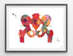 Human pelvis watercolor print pelvis and femur bones by MimiPrints