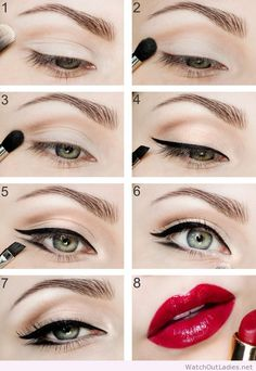 Simple eye make-up, cat eye and hot red lips