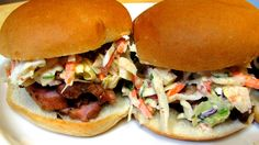 Grilled Pork Tenderloin Sliders with Apple Chipotle Cole Slaw - Father's...