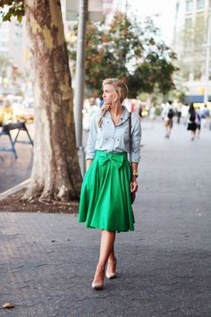 Top: Nordstrom   Skirt: Leanne Barlow   Shoes: Nordstrom   Bag: Boden   Earrings , Bracelet , Rings : Gorjana   Watch: Michael Kors Our Take A Bow skirt in Kelly is probably one of the colors in that skirt that I wear the most. And that green with chambray is my favorite color combination. Add it with a bit of leopard , and its pretty much a match made in heaven! [...]