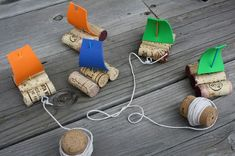 Pirate ships made from corks. Cute for a party game
