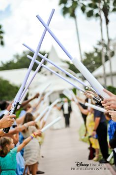 An epic staged exit at Disney's Wedding Pavilion #StarWars #wedding #Disney #WeddingPavilion