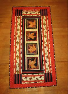 fall leaves quilted table runner