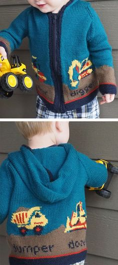 Free Knitting Pattern for Digger Jacket - Hooded cardigan sweater with colorwork motifs for all the construction vehicles children love – digger, roller, bulldozer, and dump truck. Designed by by Sam Godden. Pictured project by prairiegrl Boys Knitting Patterns Free, Jumper Knitting Pattern, Knitting For Kids, Knitting Designs, Knit Patterns, Free Knitting, Knitting Needles, Toddler Sweater, Knit Baby Sweaters