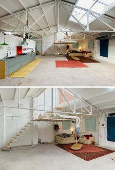 A Hanging Platform Creates A Bedroom In This Renovated Warehouse Space Architecture Renovation, Architecture Design, Sustainable Architecture, Residential Architecture, Contemporary Architecture, Casa Top, Minimalist Apartment, Dream Rooms, Cool Rooms