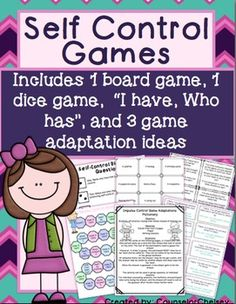Games to help students learn self-control! They will learn what it means, why it's important and how to practice it!
