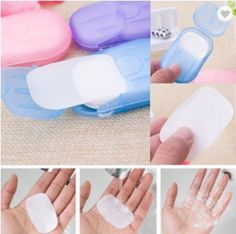 Travel Size Scented Soap Sheets. They dissolve in water to wash your hands. Fits in your pocket or purse to keep with you. I ordered last month but never posted them. 20 sheets in each one. Colors: Pink, Blue, Purple, Green, white and Orange. Washing Soap, Hand Washing, Life Hacks Diy, Soap Boxes, Bath Soap, Travel Size Products, Body Products, Makeup Remover, Hand Sanitizer