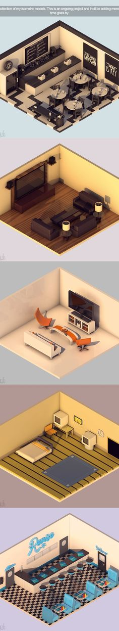 Isometric room ilustration #architecture #design