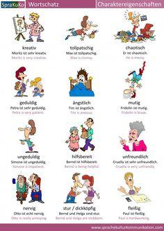 Wie beschreibe ich eine Person? Welche Charaktereigenschaften gibt es? In unserer Wortschatzübersicht finden Sie Charaktereigenschaften, die mit Bildern...
