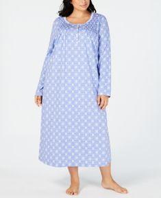 b137aca5a67e Charter Club Plus Size Printed Long Cotton Nightgown