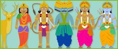 Document featuring images of the main characters from one of the Diwali stories. Contains images of: Rama, Sita, Ravana, Hanuman, Lakshmana and the golden deer. Diwali For Kids, Diwali Craft, Mozart For Kids, Diwali Story, Kandinsky For Kids, Diwali Poster, Kids Sprinkler, Felt Board Stories, Diwali Party
