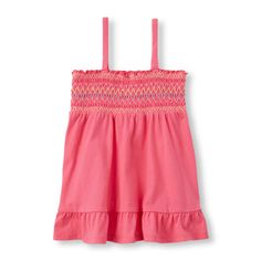 Girls Sleeveless Embroidered Smocked Top - Pink - The Children's Place