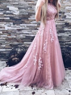 A-Line Prom Dress Tulle Prom Dress Pink Prom Dress Backless Prom Dress Lace Prom Dresses Cheap prom dresses#2018promdress#graduationdress#2018eveningdress#dress#dresses#gowns#2018partydress#longpromdress