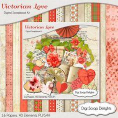 Victorian Love Digital Scrapbook Kit w Coral, Beige, Vintage Instant Download. Limited CU