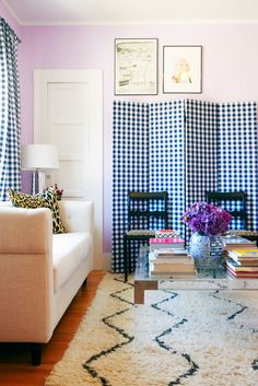 Katie Armour's Living Room (photo by Cooper Carras, lamp: Lamps Plus, sofa: West Elm, table: vintage, pillows: Etsy, curtains: Etsy, paint: Benjamin Moore Lily Lavender)