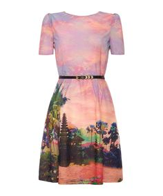 Pink short sleeve A-line dress by Uttam Boutique on secretsales.com
