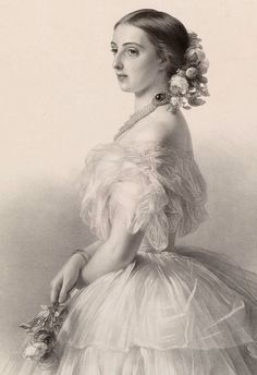 Lithograph of Winterhalter's portrait of Grand Duchess Olga Feodorovna, née Cäcilie Auguste,  Princess and Margravine of Baden, wife of ...