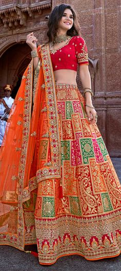 Red and orange banarasi silk lehenga choli with embroidered border . - Red and orange banarasi silk lehenga choli with embroidered border Red and orange banarasi silk lehenga choli with embroidered border Source by - Indian Wedding Gowns, Indian Bridal Outfits, Indian Bridal Lehenga, Indian Bridal Fashion, Indian Weddings, Latest Bridal Lehenga, Indian Fashion Dresses, Indian Gowns Dresses, Dress Indian Style