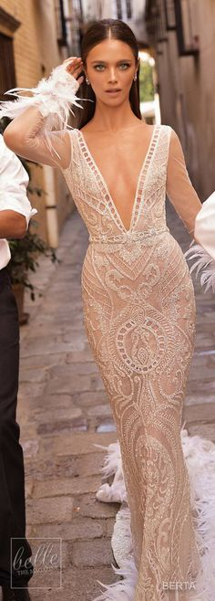 Winter Wedding Dress - Berta Seville Wedding Dress Collection -  Long sleeves fitted gown with deep v neckline #weddingdress #bridalgown