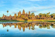 Angkor Wat temple and its reflection, Cambodia