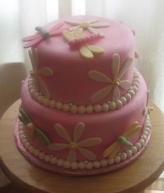 Pink sparkly dragonfly cake! Easy enough shapes!